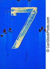Number Seven Painted on Blue
