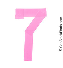 Number seven symbol made of insulating tape