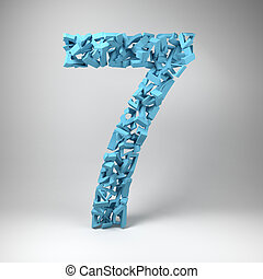 The number seven made out of smaller number sevens in a studio setting
