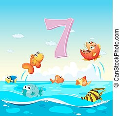 Number seven with 7 fish in the ocean