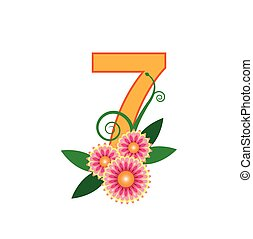 Number seven with floral vector