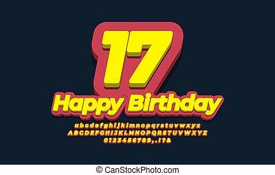 number seventeen year celebration birthday  3d  yellow design