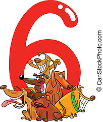 number six and 6 dogs - cartoon illustration with number six...