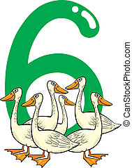 number six and 6 geese - cartoon illustration with number...