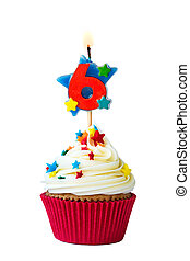 Number six cupcake - Cupcake with number six candle