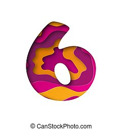 Number Six, cut out paper. Vector illustration.