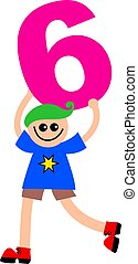 number six kid - Happy little caucasian boy holding a giant...