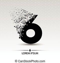 Number six logo vector design illustration
