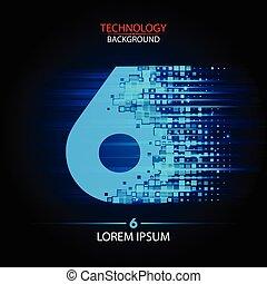 Number six logo vector technology design