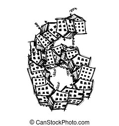 Number six made from houses, vector alphabet design