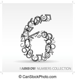 Number six made from various numbers