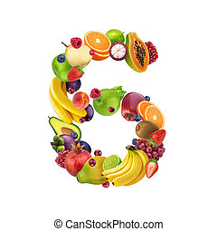 Number six made of different fruits and berries, fruit alphabet isolated on white background