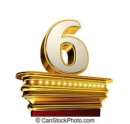 Number Six on a golden platform over white