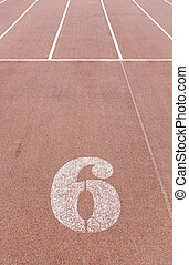 Number six on a running track