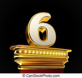 Number Six on golden platform