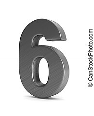 Number six on white background. Isolated 3D illustration