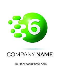 Number six splash logo. Green dots and bubbles number design on grey background. Vector Illustration