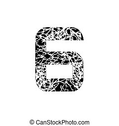 Number six, symbol 6. Textured font Grunge Design