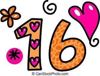 Number Sixteen Doodle Text - Hand drawn cartoon doodle...