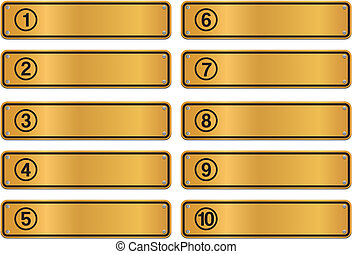 number step, gold sign style