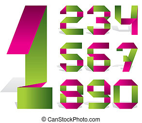 number tape - vector numbers of folded color tape