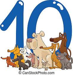 cartoon illustration with number ten and group of dogs