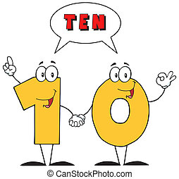 Number Ten And Text - Number Ten Cartoon Character With...