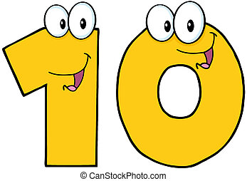 Number Ten Cartoon Mascot Character