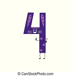 Number ten cute cartoon character isolated on white background - vector illustration of arithmetic element.