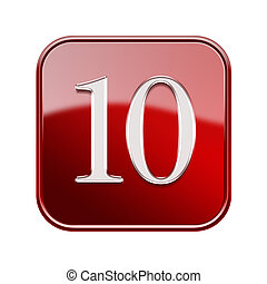 Number ten icon red glossy, isolated on white background
