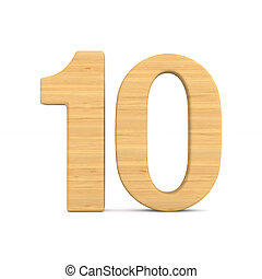 Number ten on white background. Isolated 3D illustration