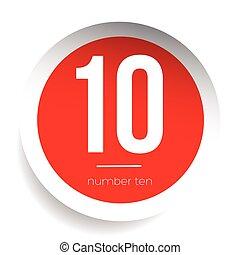 Number ten vector label red