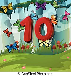 Number ten with 10 butterflies in garden