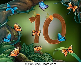 Number ten with 10 butterflies in the garden