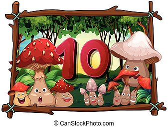 Number ten with 10 mushrooms with faces