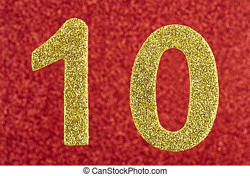 Number ten yellow color over a red background. Anniversary.