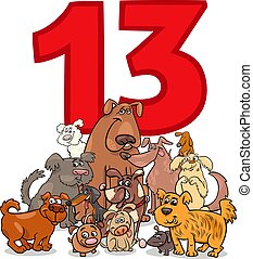 number thirteen and cartoon dogs group