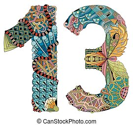 Number thirteen Zentangle. Vector decorative object -...
