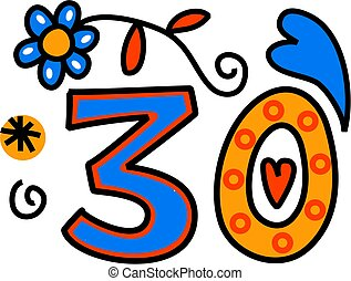 Number Thirty Doodle Text - Hand drawn cartoon doodle number...