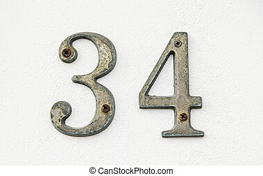 Number thirty-four on a wall