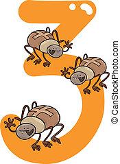 number three and 3 spiders - cartoon illustration with...