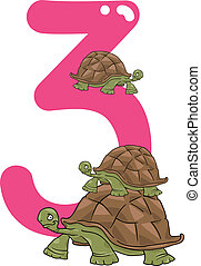 number three and 3 turtles - cartoon illustration with...