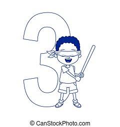number three and cartoon boy icon, flat design