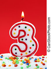 Number three birthday candle