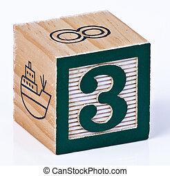 Number Three Childrens Blocks