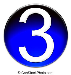 Number three glassy button