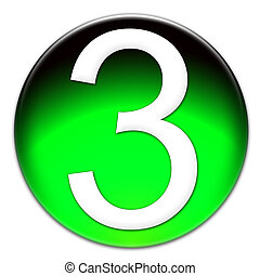 Number 3 Arial font type on a green glassy button isolated on white background