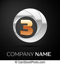 Number Three logo symbol in the golden-silver colorful circle on black background. Vector template for your design