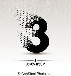 Number three logo vector design illustration