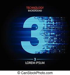 Number three logo vector technology design